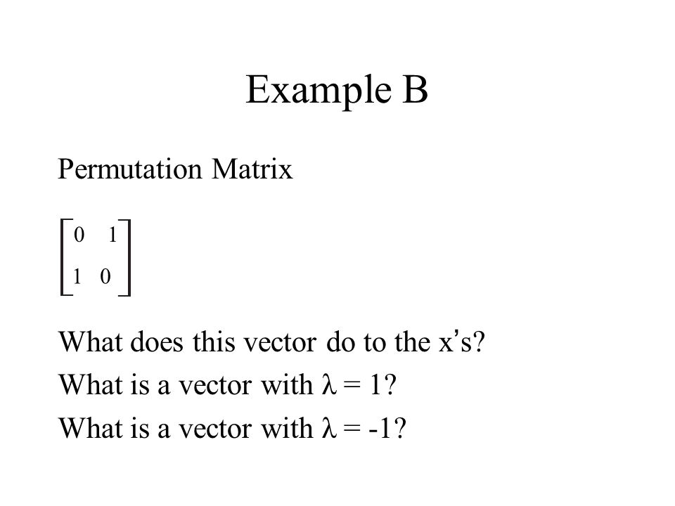 Example B Permutation Matrix What does this vector do to the x's