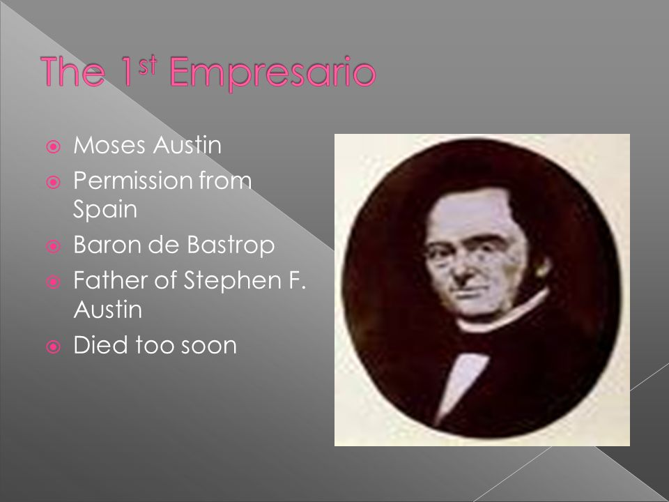 Moses Austin Permission from Spain Baron de Bastrop Father of Stephen F. Austin Died too soon