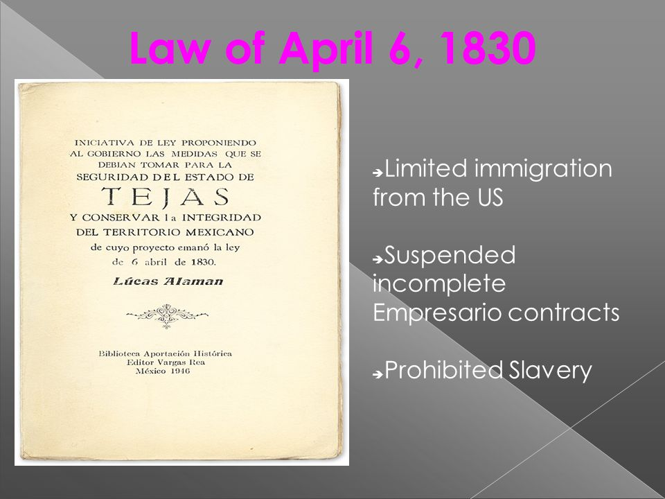Law of April 6, 1830 Limited immigration from the US