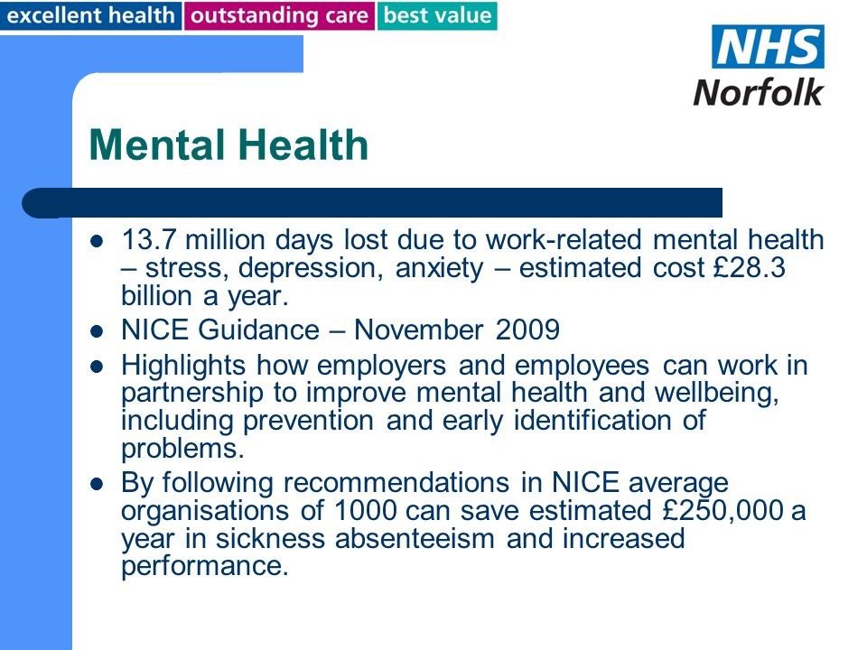 Mental Health 13.7 million days lost due to work-related mental health – stress, depression, anxiety – estimated cost £28.3 billion a year.
