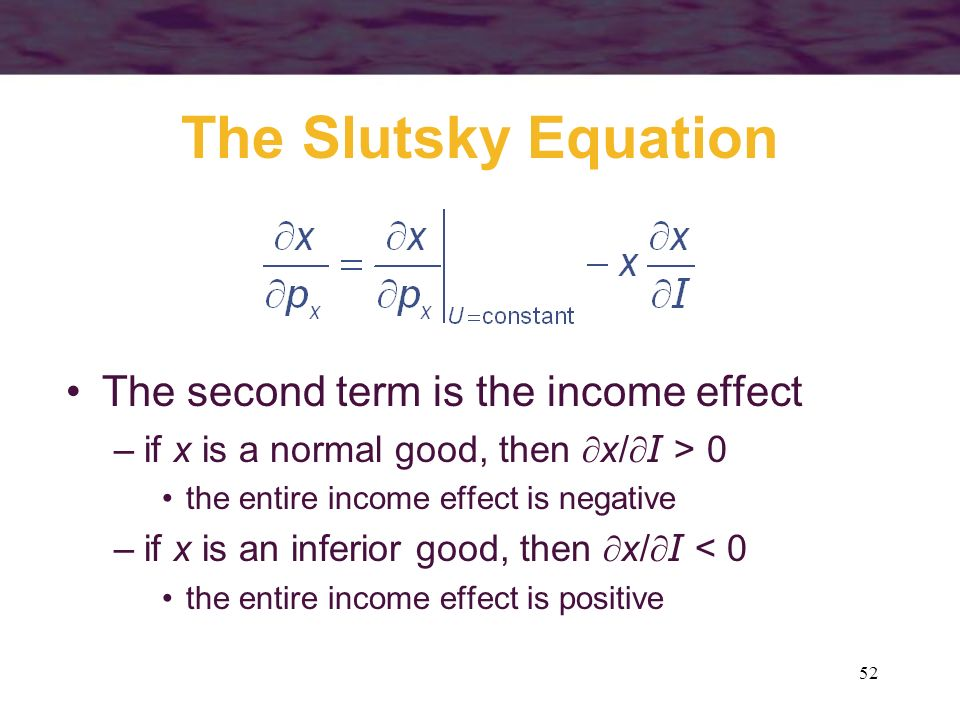 The Slutsky Equation The second term is the income effect