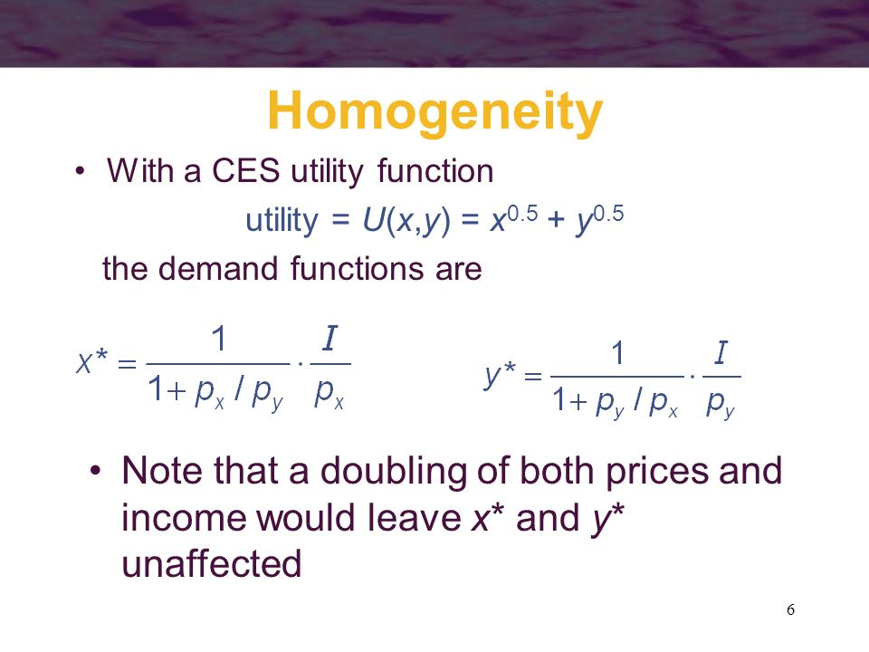 Homogeneity With a CES utility function. utility = U(x,y) = x0.5 + y0.5. the demand functions are.