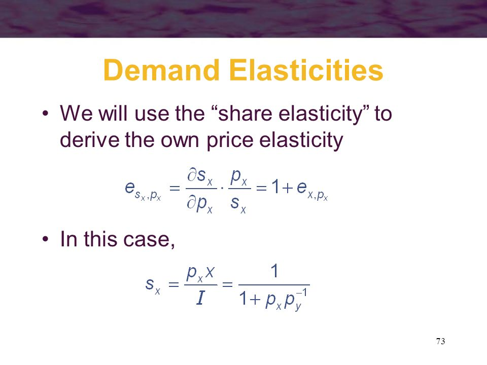Demand Elasticities We will use the share elasticity to derive the own price elasticity.