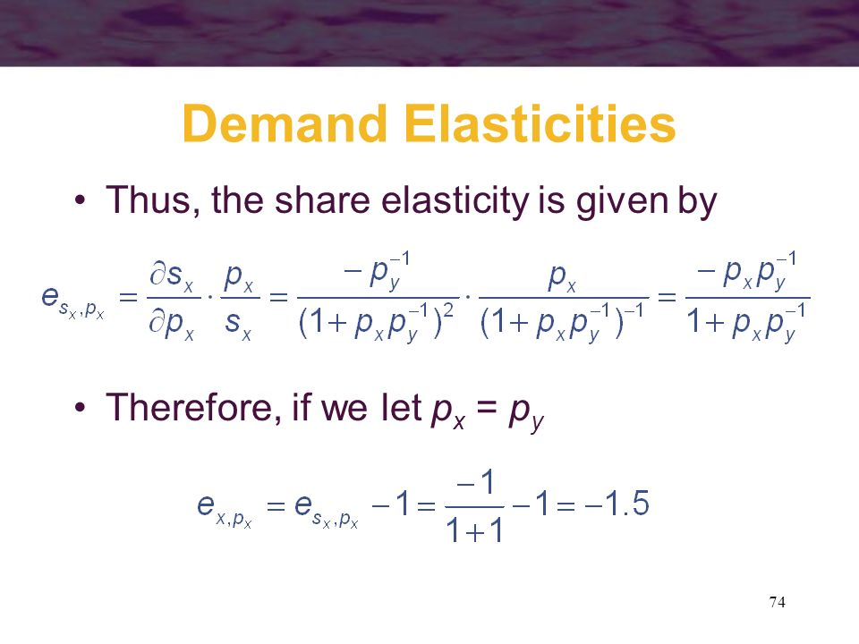 Demand Elasticities Thus, the share elasticity is given by