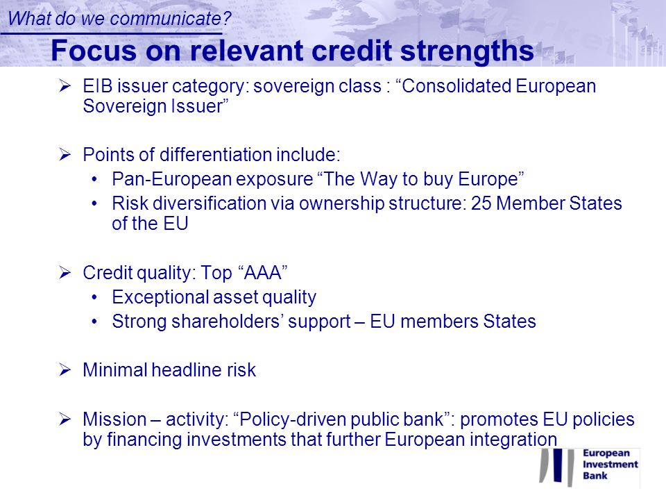 Focus on relevant credit strengths