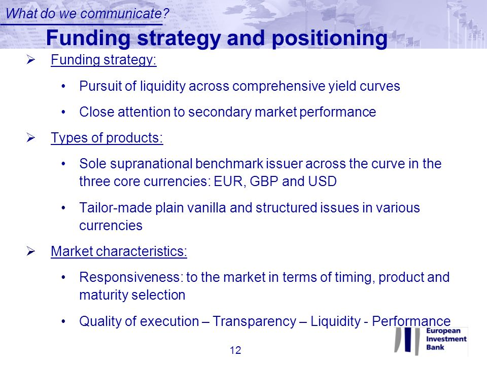 Funding strategy and positioning