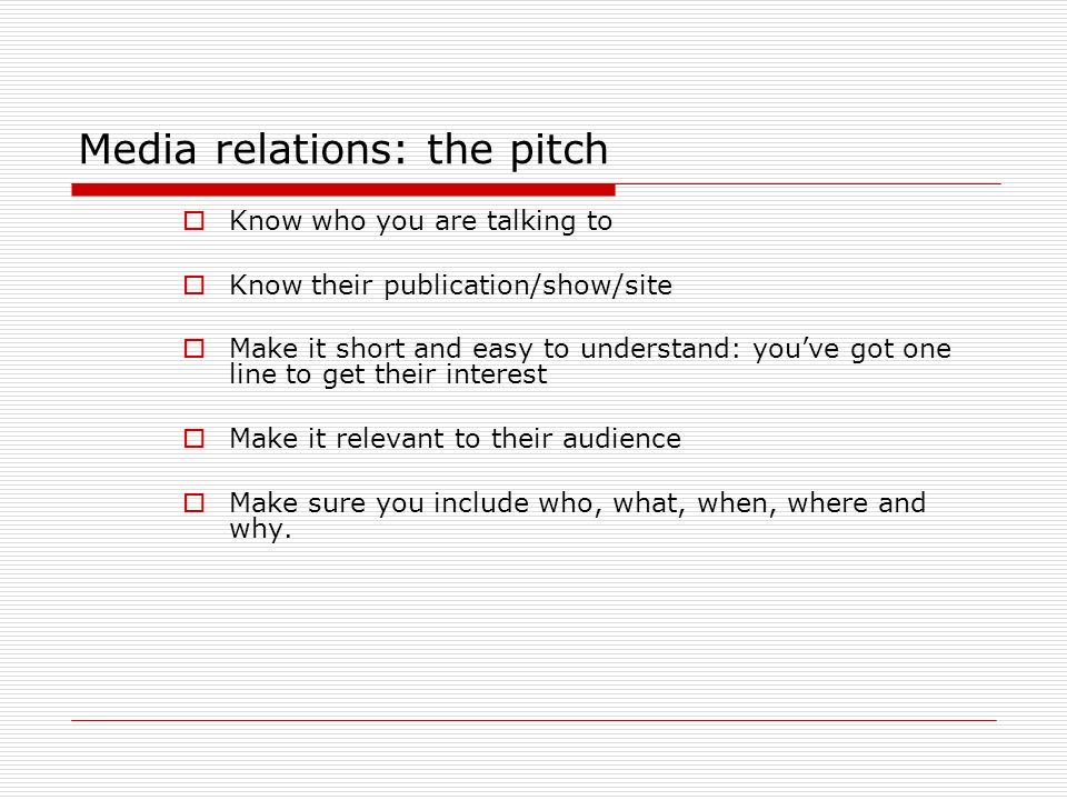 Media relations: the pitch