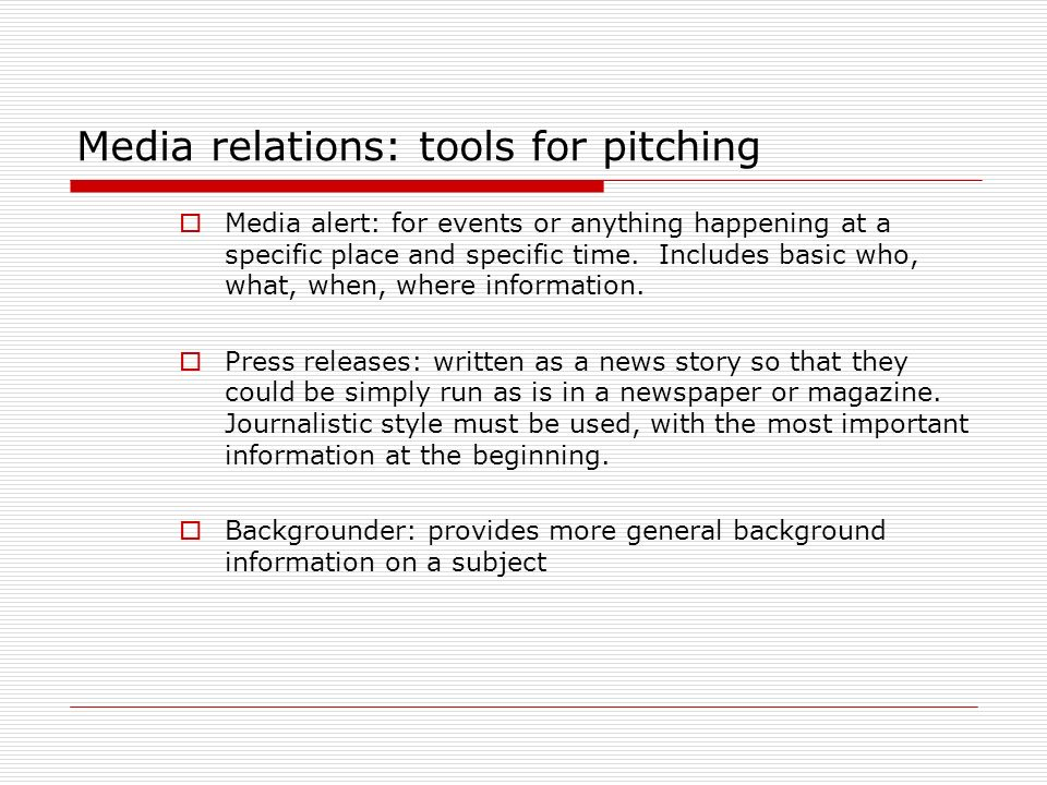 Media relations: tools for pitching