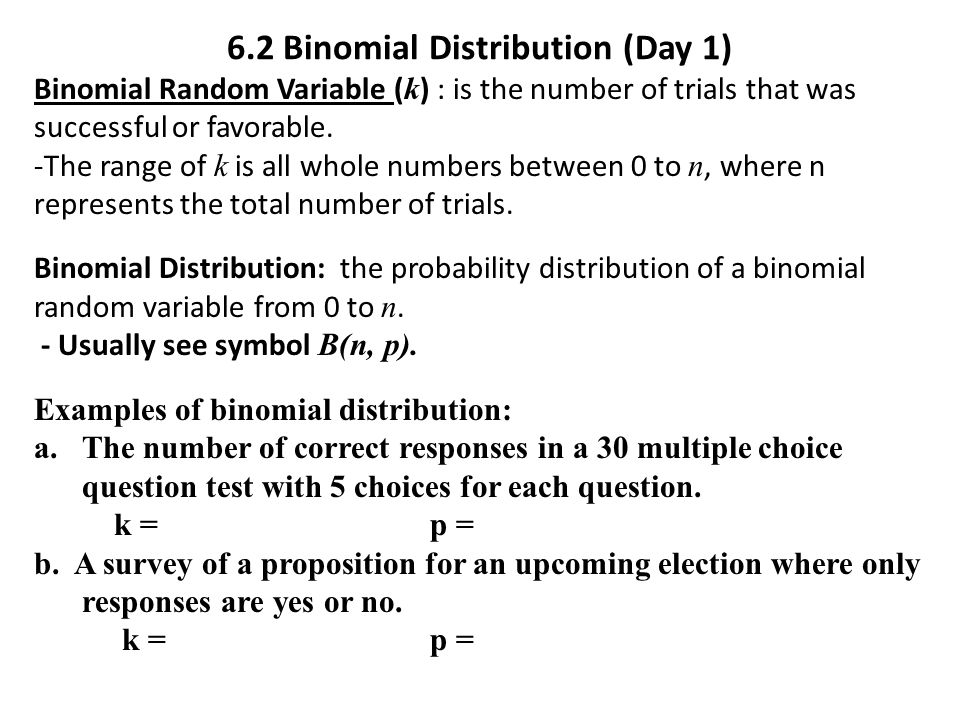 Warmup 62 Binomial Distribution Day 1 Ppt Video Online Download. 62 Binomial Distribution Day 1. Worksheet. Worksheet Binomial Distribution Multiple Choice At Clickcart.co
