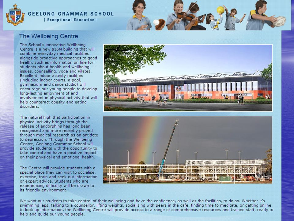 Geelong Grammar School is so enthused about the efficacy of Positive Psychology that they are investing 16 million Dollars into a new Wellness Centre to promote the Buffers to resilience , and bringing out Dr Seligman to implement the new wellness program within the school!