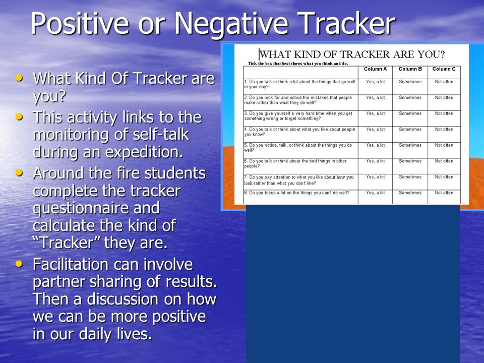 Positive or Negative Tracker