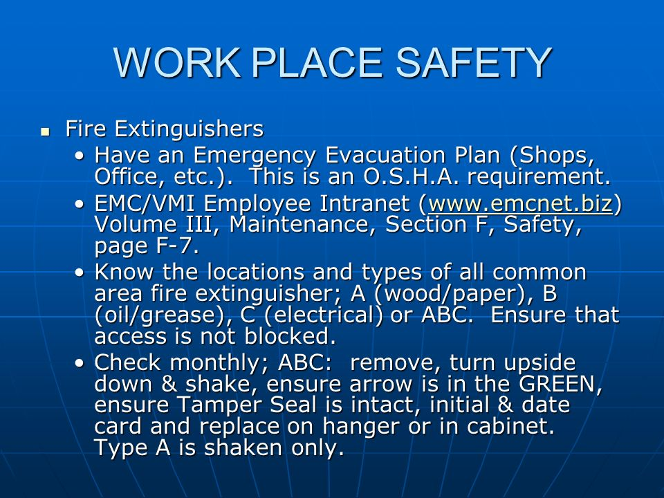 WORK PLACE SAFETY Fire Extinguishers