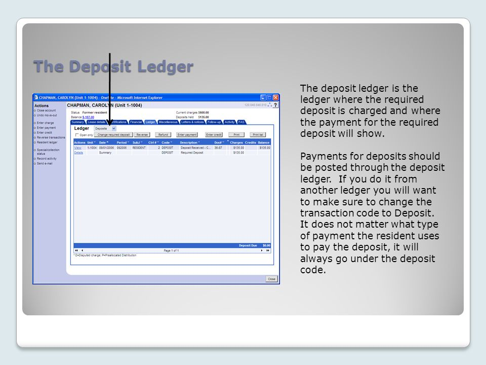 The Deposit Ledger The deposit ledger is the ledger where the required deposit is charged and where the payment for the required deposit will show.