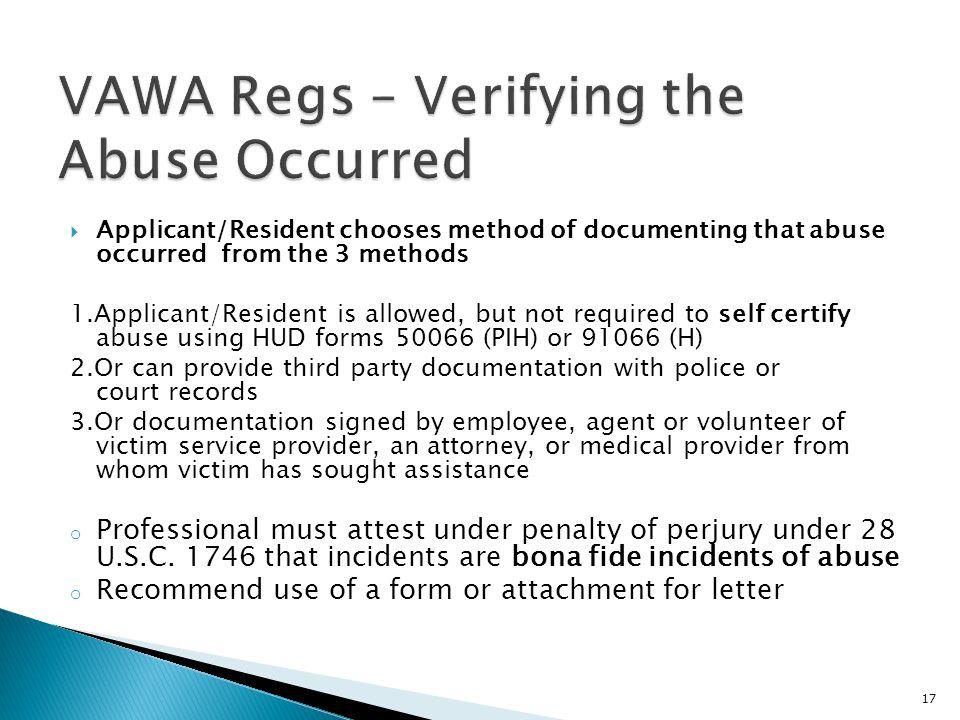 VAWA Regs – Verifying the Abuse Occurred