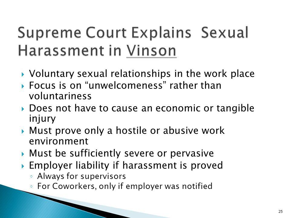 Supreme Court Explains Sexual Harassment in Vinson