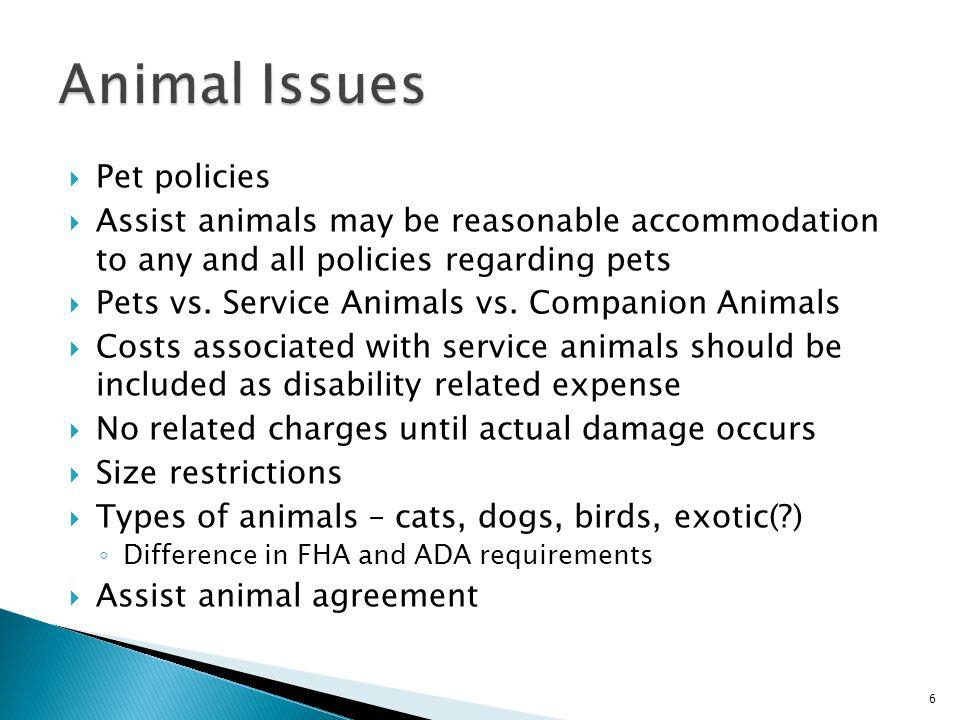 Animal Issues Pet policies