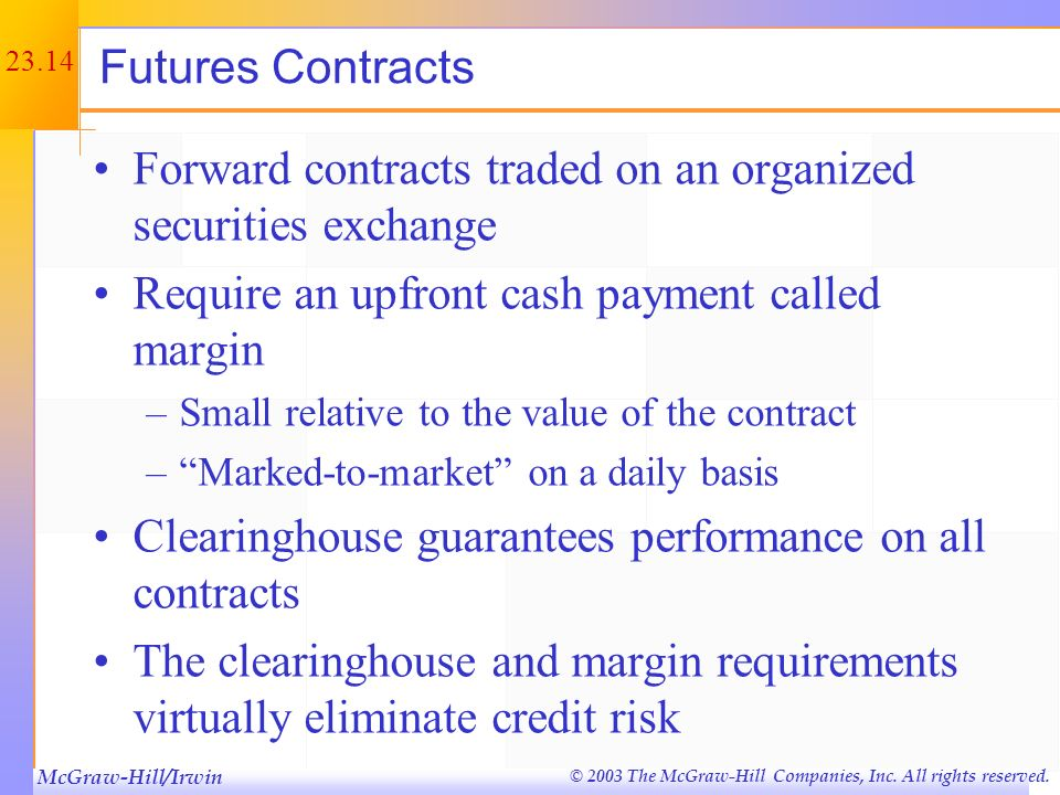 Forward contracts traded on an organized securities exchange