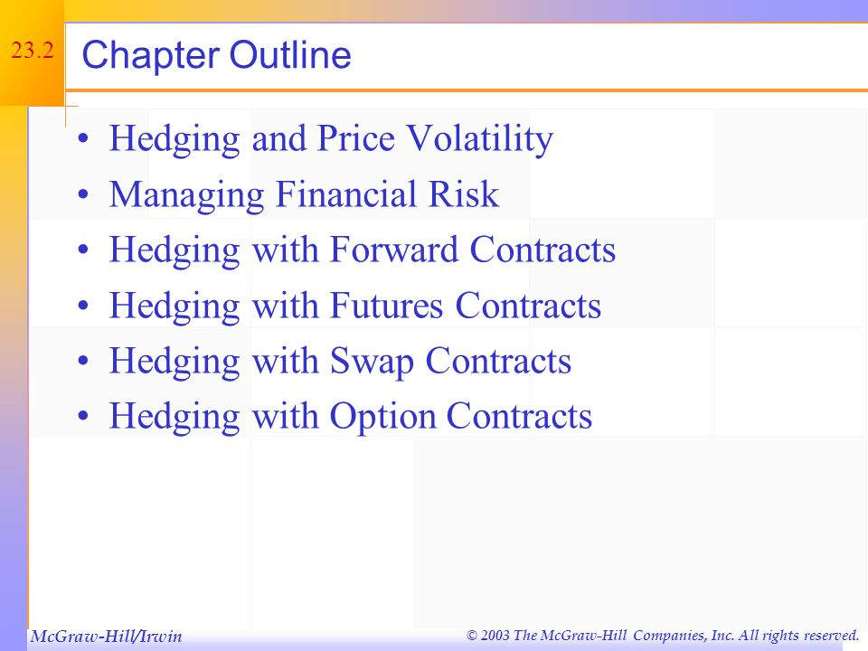 Chapter Outline Hedging and Price Volatility. Managing Financial Risk. Hedging with Forward Contracts.