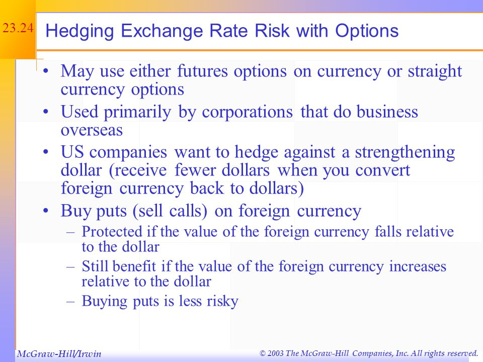 Hedging Exchange Rate Risk with Options