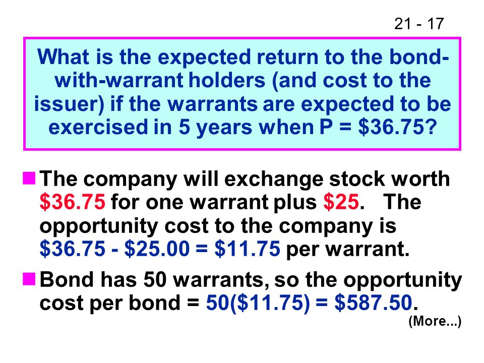 What is the expected return to the bond- with-warrant holders (and cost to the issuer) if the warrants are expected to be exercised in 5 years when P = $36.75