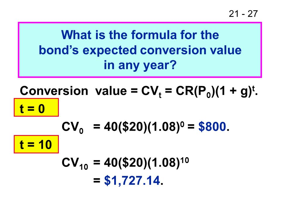 What is the formula for the bond's expected conversion value