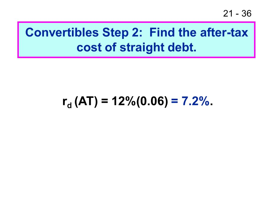 Convertibles Step 2: Find the after-tax cost of straight debt.
