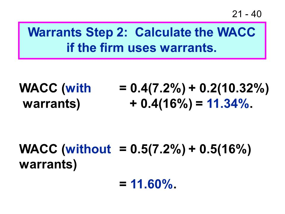 Warrants Step 2: Calculate the WACC if the firm uses warrants.