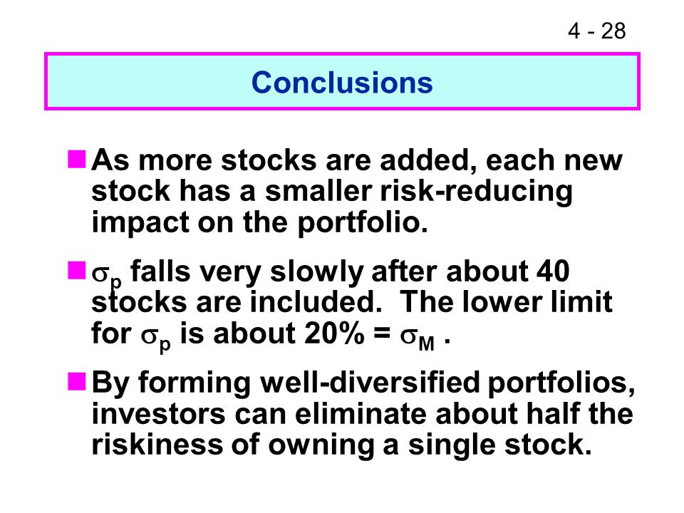 Conclusions As more stocks are added, each new stock has a smaller risk-reducing impact on the portfolio.