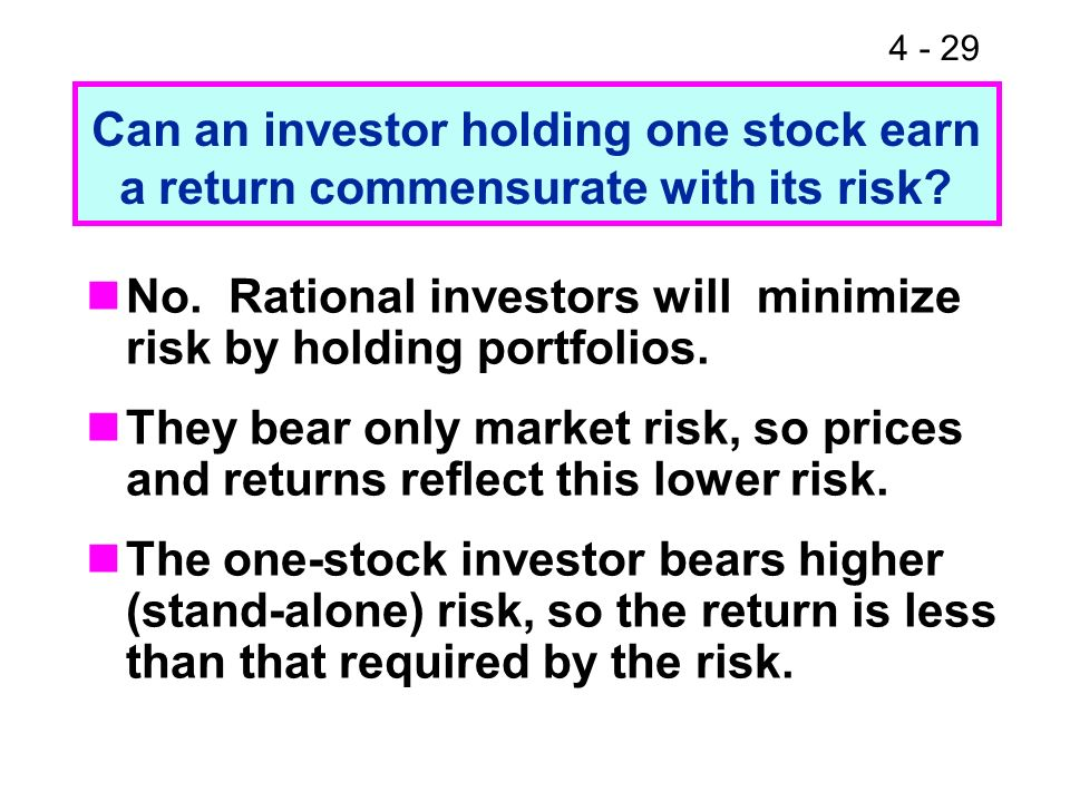 No. Rational investors will minimize risk by holding portfolios.