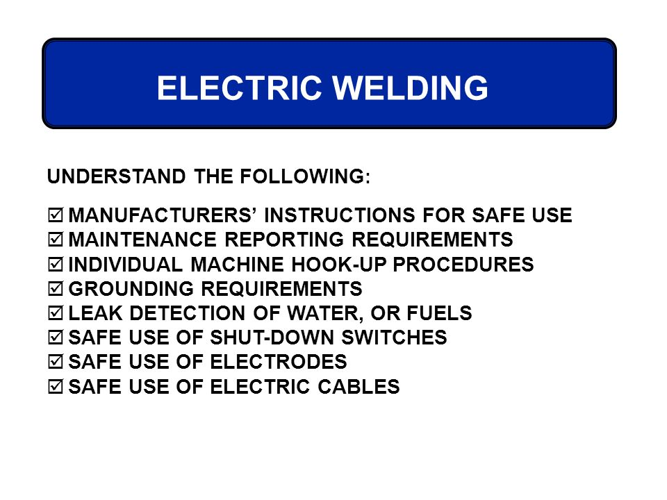 osha welding cutting brazing cfr 1910 Specific osha training requirements for welders and welding are incorporated throughout 29 cfr 1910, subpart q—welding, cutting, and brazing training tips using the employee handout, review the company's welding best practices.