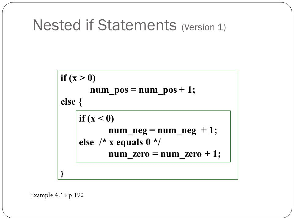 Nested if Statements (Version 1)