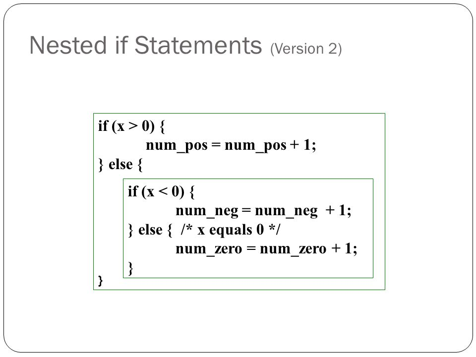 Nested if Statements (Version 2)