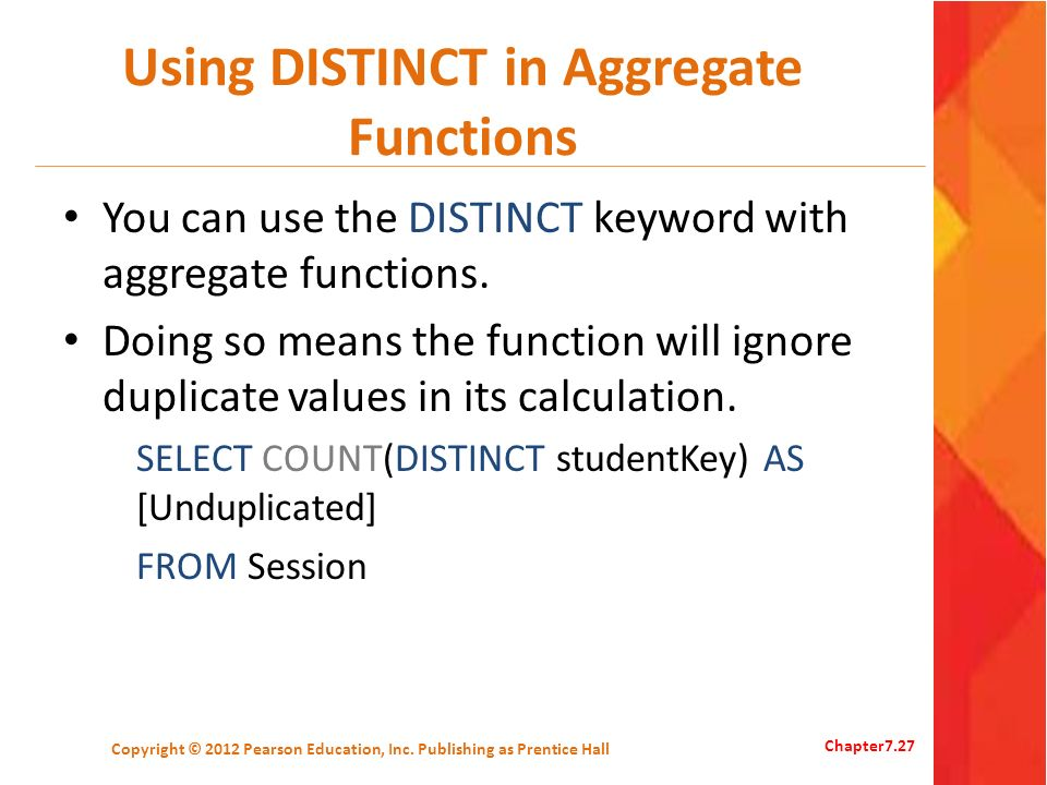 Using DISTINCT in Aggregate Functions