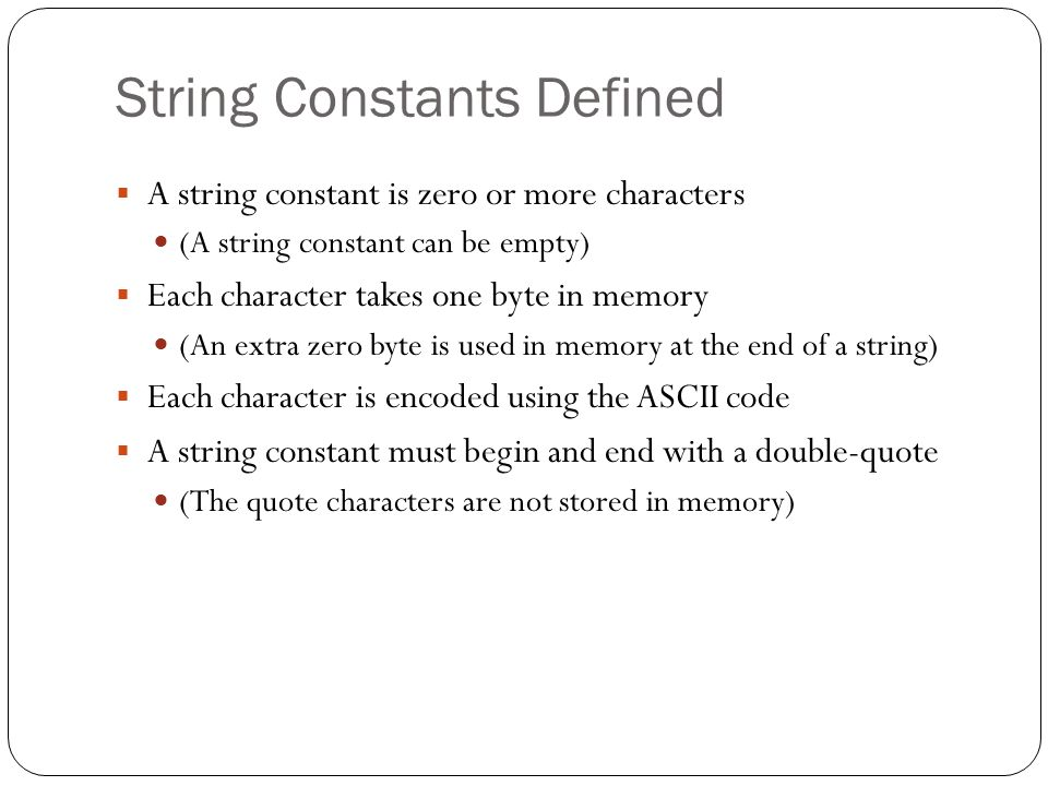 String Constants Defined