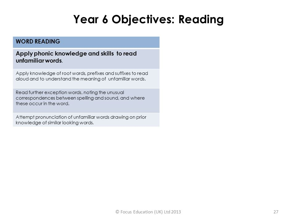 Year 6 Objectives: Reading