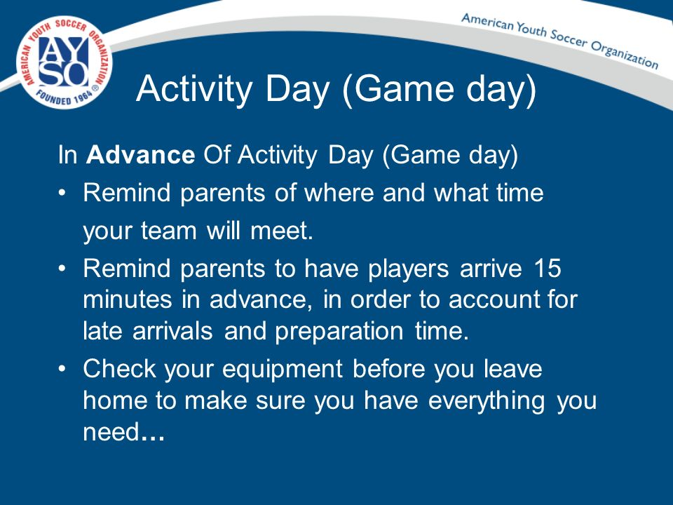 Activity Day (Game day)