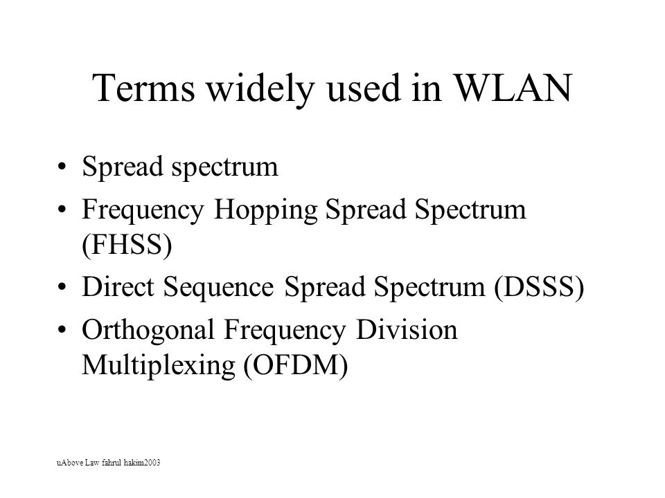 Terms widely used in WLAN