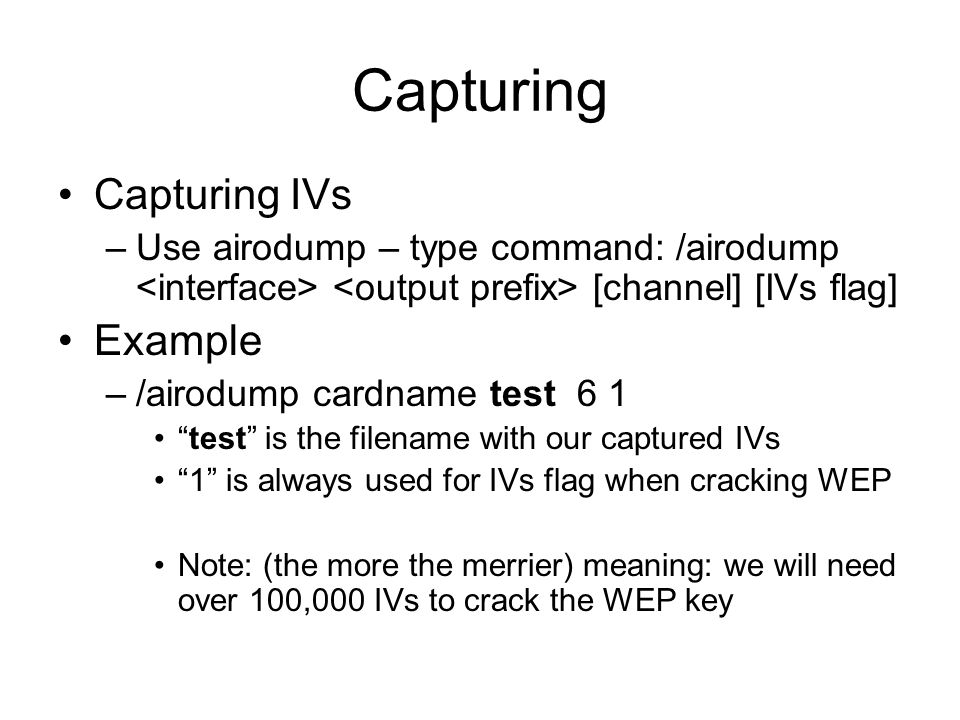 Capturing Capturing IVs Example