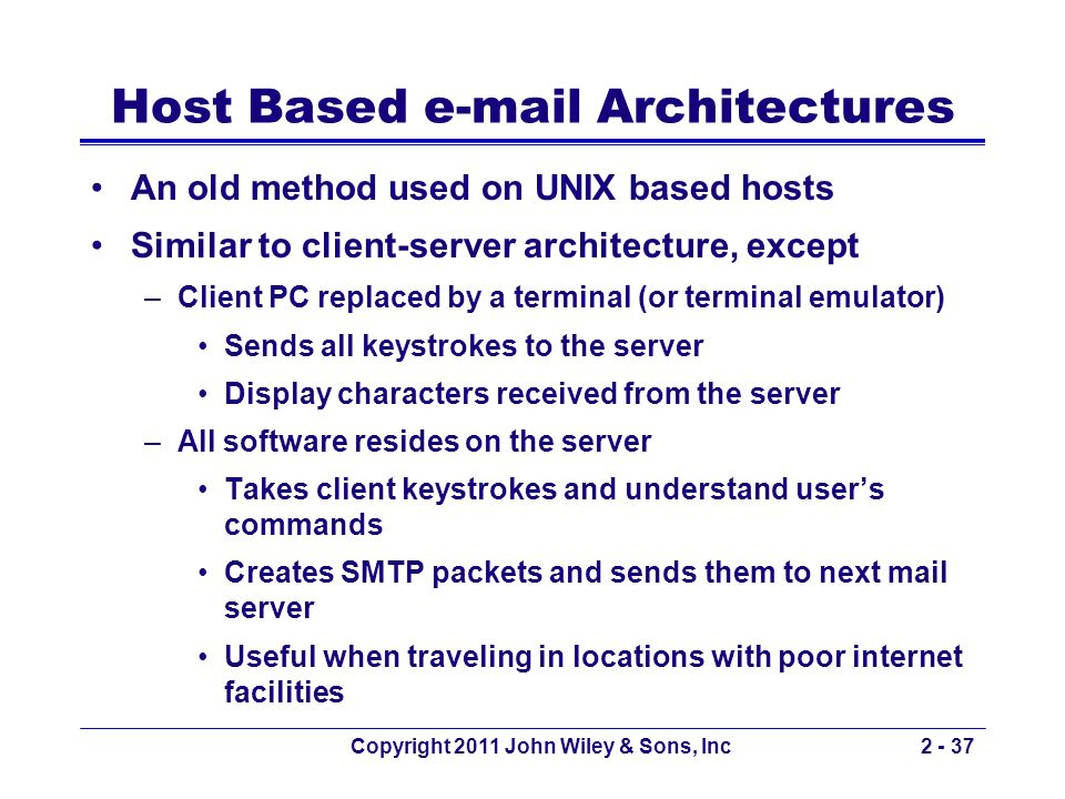 Host Based e-mail Architectures