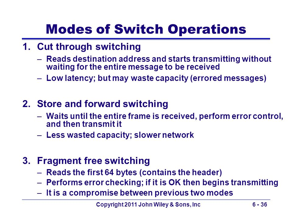 Modes of Switch Operations