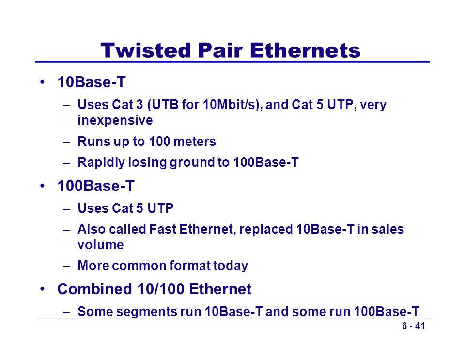 Twisted Pair Ethernets