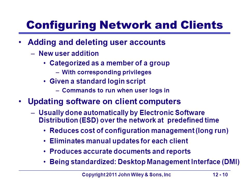 Configuring Network and Clients