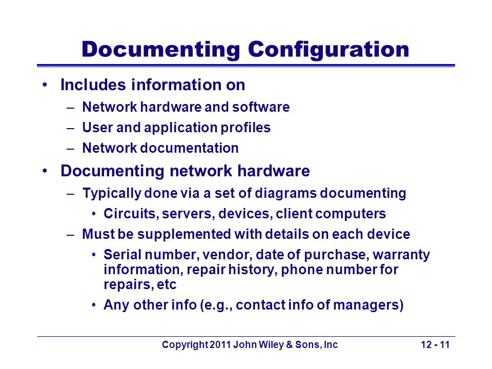Documenting Configuration