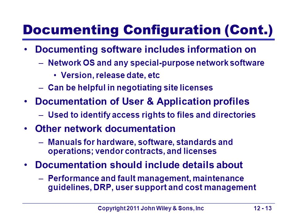 Documenting Configuration (Cont.)