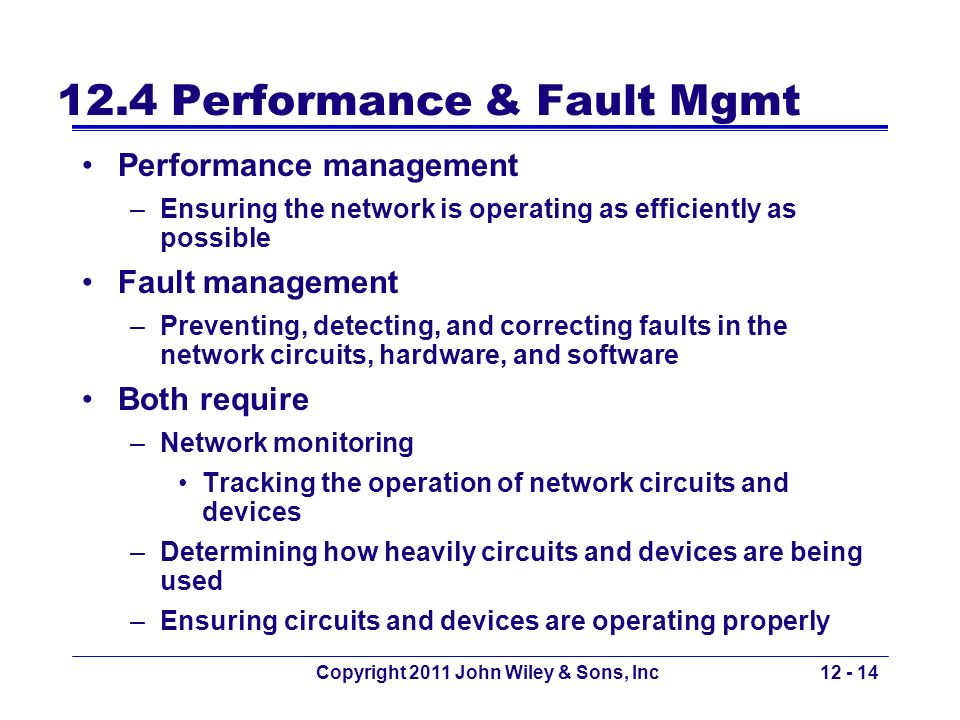 12.4 Performance & Fault Mgmt