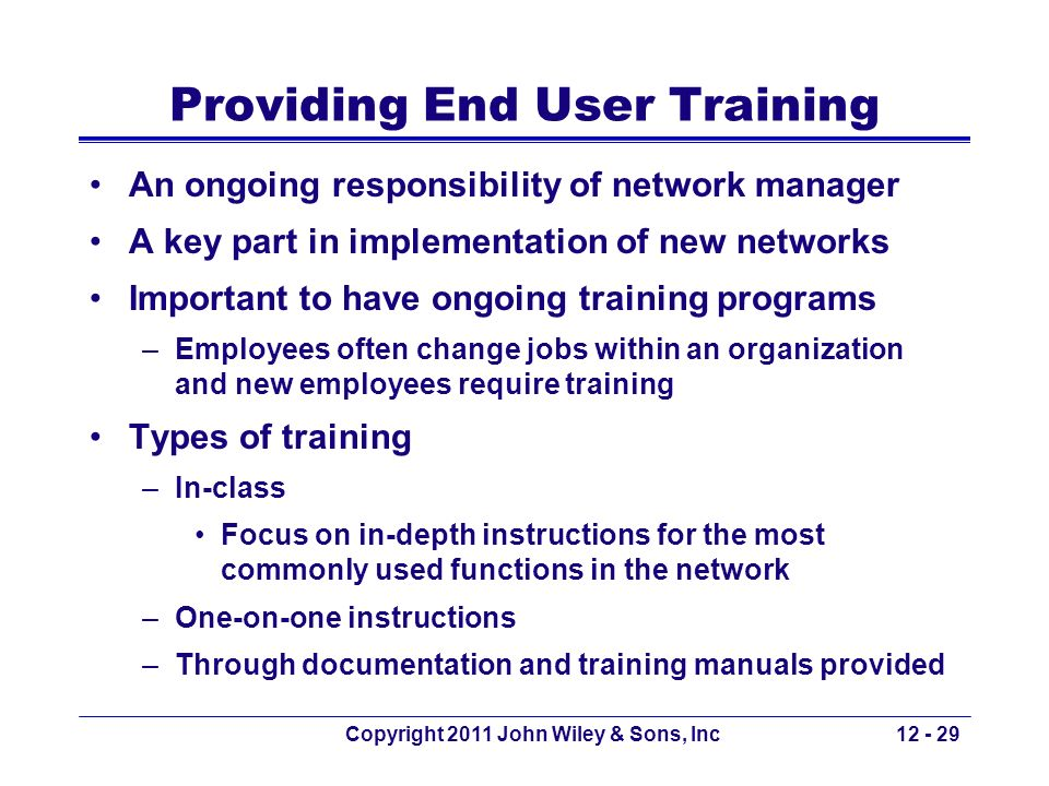 Providing End User Training