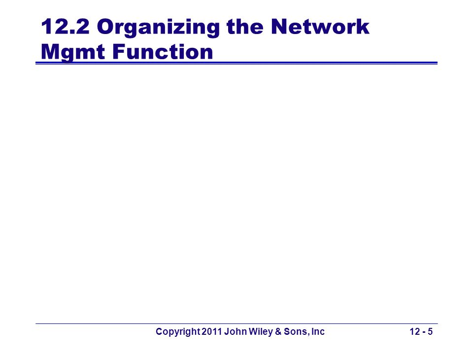 12.2 Organizing the Network Mgmt Function