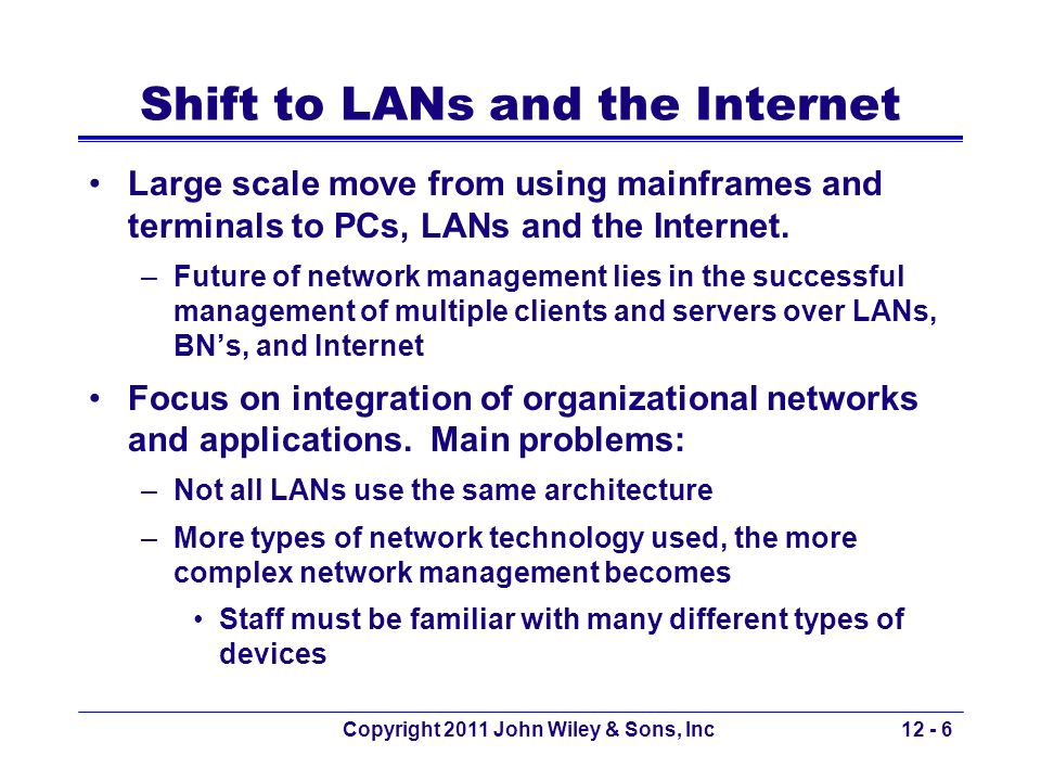 Shift to LANs and the Internet