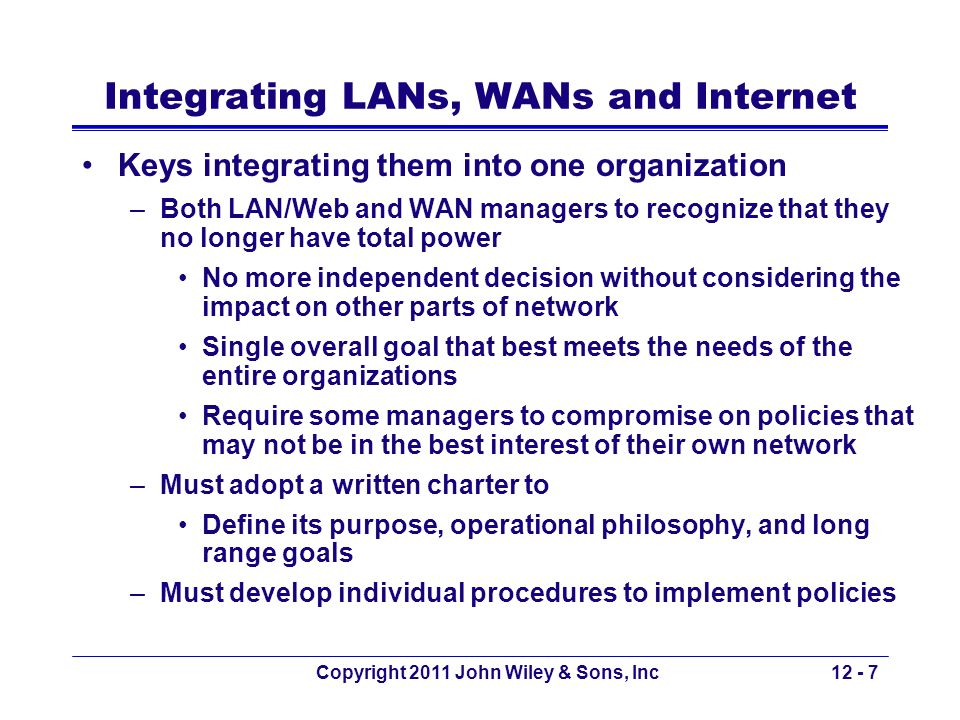 Integrating LANs, WANs and Internet
