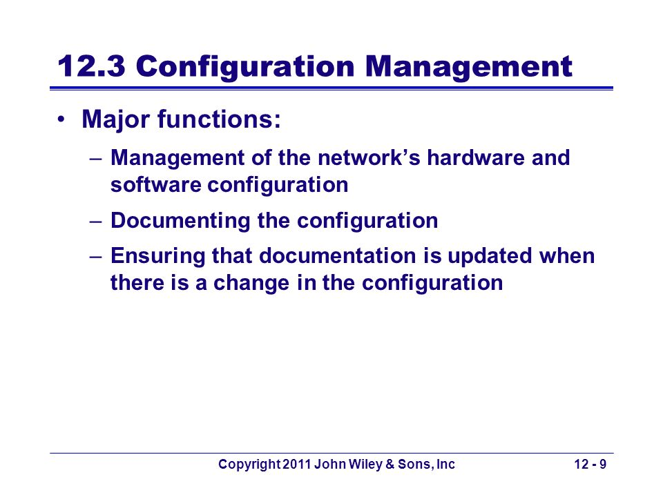 12.3 Configuration Management